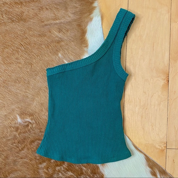Urban Outfitters Blue Ribbed One Shoulder Tank Top